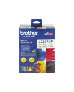 Brother LC67PVP 4 Ink Cartridge Photo Value Pack (Black/Cyan/Magenta/Yellow + Photo Paper)